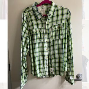 Abercrombie & Fitch Blue Green Men's Flannel Shirt